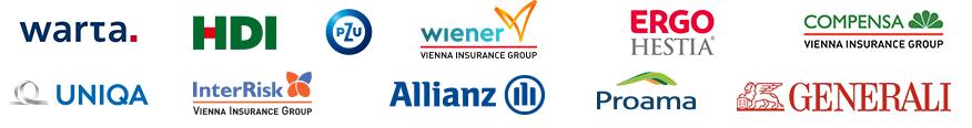 Logotypy partnerów Ubezpieczeń RelaxTourist